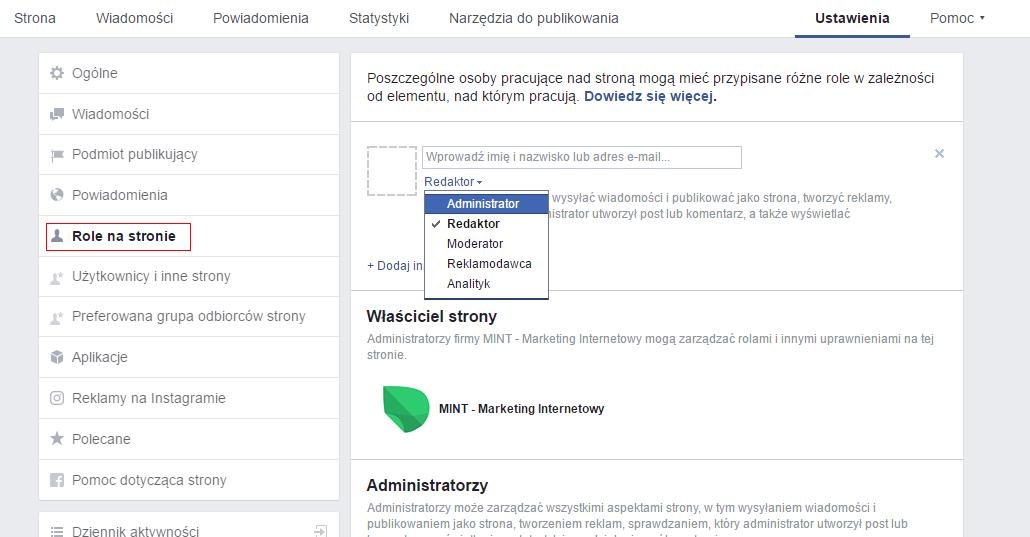 jak dodać menedżera na Facebooku